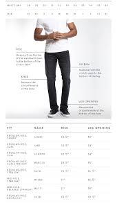 Mens Jeans Chart Mens Size Guide Mavi Jeans Canada Mavi Canada