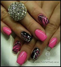 Pink and black valentine s day nail art design. View Images ...
