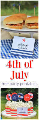4th of july party free printable set includes a ton of free party printables