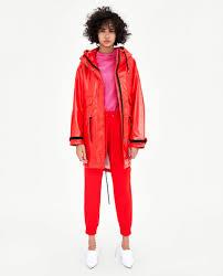 zara faux patent leather raincoat