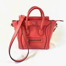 celine designer bag luggage tote orange leather