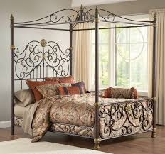 Queen Size Bed Canopy Espresso Wrought Bed Design E with Canopy ...
