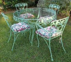 cast iron patio table vintage wrought iron patio set dogwood blossoms branches sage green 8 round