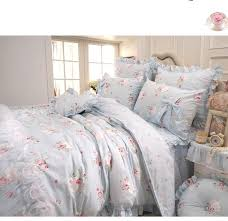 sisbay new design girls wedding bedding set blue king size bed in a bag shabby chic rose duvet cover for princess vintage rural fl bed skirt