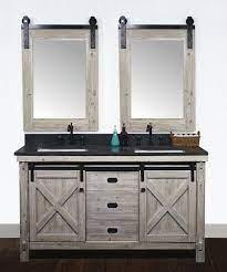 60 Rustic Solid Fir Barn Door Style Double Sinks Vanity With Limestone Housetie