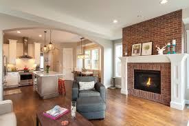 living room with red brick fireplace red brick fireplace surround living room contemporary with open