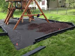 Weed barrier, borders and mulch under a playset.
