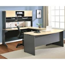 incredible office furnitureveneer modern shaped office. U Shaped Gray And White Birch Wood Office Desk Which Incredible Furnitureveneer Modern T