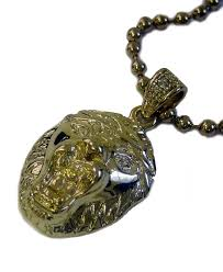 micro gold plated lion head pendant and hiphop ball chain