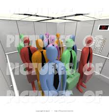 people in elevator clipart. clipart of diverse business people in a 3d elevator