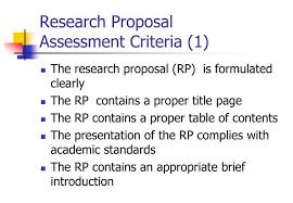 Research Proposal Marking Criteria / Thesis Help
