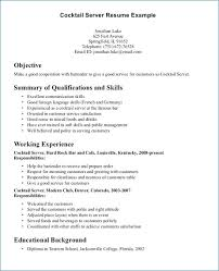 Resume For Bartender With No Experience Resume Layout Com