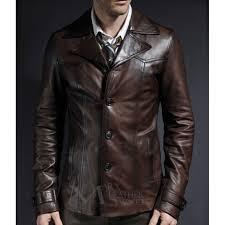 brown leather blazer coat 70s collar style