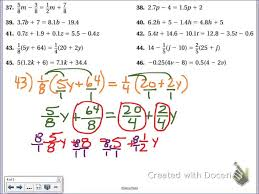 common core math solving multi step equations distributive clearing the fraction you
