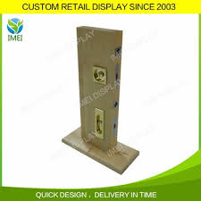 chinese manufactures custom size wooden door lock display stand