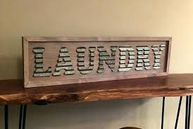 laundry signs for room corrugated metal sign white washed wooden decor vintage style
