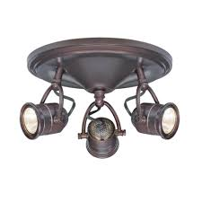 3 light antique bronze round base pinhole ceiling fixture
