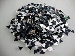 100 mosaic triangular silver mirror tiles approx 10 x 10 x 10 mm