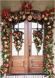 A Door Garland Front Doors Install Around Christmas  Fresh 486 Best Wreaths U0026 Balls Images On Pinterest