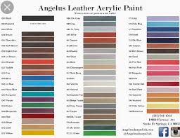 Angelus Leather Dyes In 2019 Paint Color Chart Painting