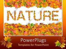 Word Of Nature Powerpoint Template Fall Leaves Spelling Out The Word Nature