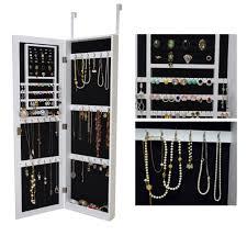 organizedlife white mirrored jewelry cabinet armoire door locking wall mount makeup storage com