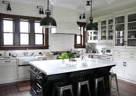 Farmhouse Style Lighting Cabinets Drawer White Black Colorblock Kitchen Farmhouse Style