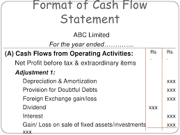 format of cash flow statements cash flow statement