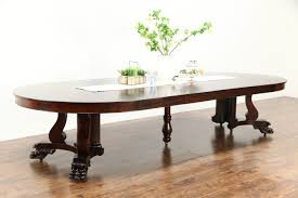 empire 1900 antique 5 round mahogany dining table extends 12 lion paws