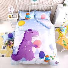 kids dinosaur bedding cartoon dinosaur bedding sets queen size children bedspread kids boys bed set soft cute satin bed sheets linen cotton bed cover in
