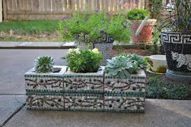 ... Charming Garden Landscaping Decoration With Various Cinder Block Garden  Planters : Cute Picture Of Decorative Rectangular ...