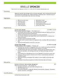 Assistant Managers Resume Sample