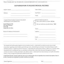 Authorization To Release Medical Records Form New Free Dental ...