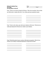 Product Evaluation Essay Prewriting