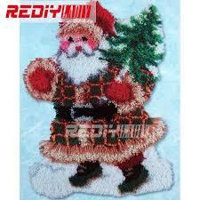 hot latch hook rug kits diy needlework unfinished crocheting rug yarn cushion mat santa tree