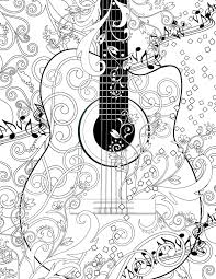 Small Picture Adult Coloring Page Printable Adult Guitar FREE by JuleezGallery