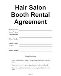 Lease Agreement Example Examples Hair Salon Booth Rental Agreement Sample