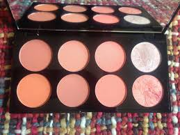 there are two baked merged shades one a highlight and one a blush most of the others all have at least a little shimmer in them but some are more shimmery