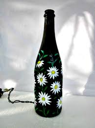 Painting Glass Lamps Wine Bottle Light Night Light Recycled Black Bottle Hand Painted