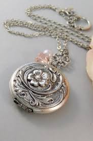 blushing locket locket silver locket flower pink blush antique locket necklace