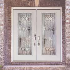 white wood door. Inspiring Double Fiberglass Entry Door As Furniture For Home Exterior And Front Porch Decoration : Beautiful White Wood