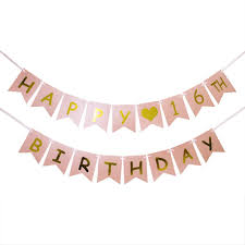 Pink Banners Innoru Happy 16th Birthday Banner Pink And Gold 16th Birthday Decorations Sweet 16 Milestone Happy Birthday Decorations