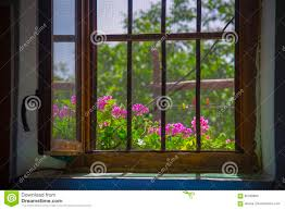 Offenes Fenster Von Innen Gesehen Stockbild Bild Von Netz Zuhause