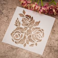 scrapbook sketchbook painting drawing&color spray painted rose stencil art  supplies paint brush drawing set on blank