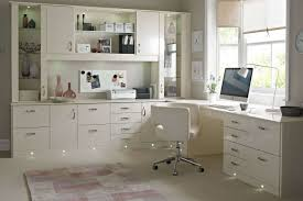 chic home office design home office. Office : Chic Home Design Inspiration With L Shape Modern Painted Wood Computer Desk Combine Many Storage Also White Comfortable Laminated