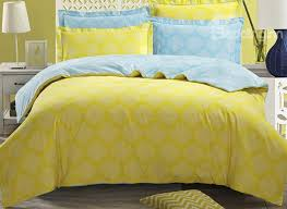 modern white medallion with yellow ground 4 piece cotton duvet cover sets