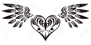 Tribal Angel Designs Tribal Sticker Heart And Wings Design Of Angel Wings And Hearts