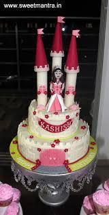 Princess Castle Theme 2 Layer Designer Fondant Cake For Baby Girls