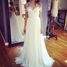 beach off shoulder lace appliqued chiffon bohemian wedding dresses