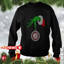 Crimson Tide Christmas Lights Grinch Holding Alabama Crimson Tide Ornament Christmas Glitter Sweater